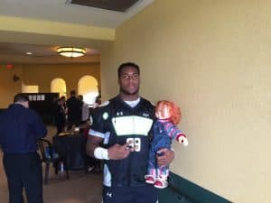DE Recruit Byron Cowart and his Chuckie Doll/Andrew Spivey
