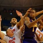 LSU forward Jarell Martin grabs a rebound over three Florida Gators.  January 20th, 2015. Gator Country photo by David Bowie.
