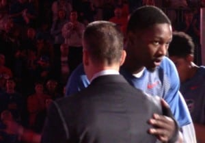 Dorian Finney-Smith with Billy Donovan during player introductions/Kassidy Hill