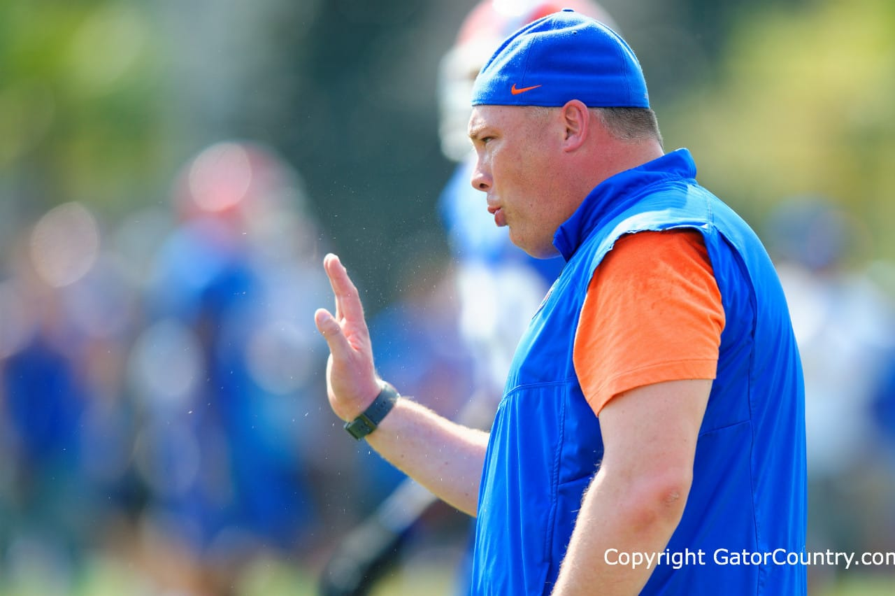 Defensive Coordinator Geoff Collins Coaches During the Gators Spring Practice/GatorCountry photo by David Bowie