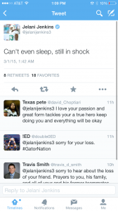 Former Gators football player Jelani Jenkins mourns Chris Johnson.