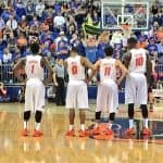 The Florida Gators line the court waiting on play to start vs TAMU