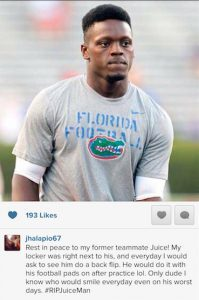 Former Gators football player Jon Halapio mourns Chris Johnson.