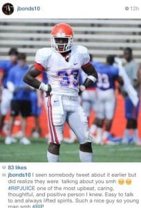 Former Gators basketball player Jaterra Bonds mourns Chris Johnson.