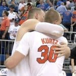 Alex Murphy and Jake Kurtz embrace after being TAMU on Kurtz's Senior Night/Photo Courtesy of WCJB