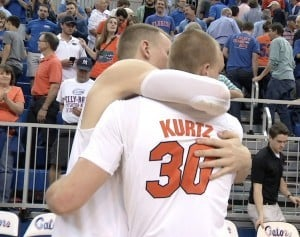 Alex Murphy and Jake Kurtz embrace after being TAMU on Kurtz's Senior Night/Photo Courtesy of WCJB