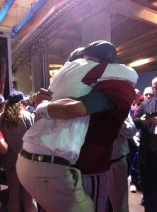 Jim McElwain celebrates winning the 2011 National Championship with QB AJ McCarron/Photo courtesy of Kassidy Hill