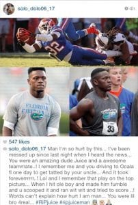 Former Gators football player Solomon Patton mourns Chris Johnson.