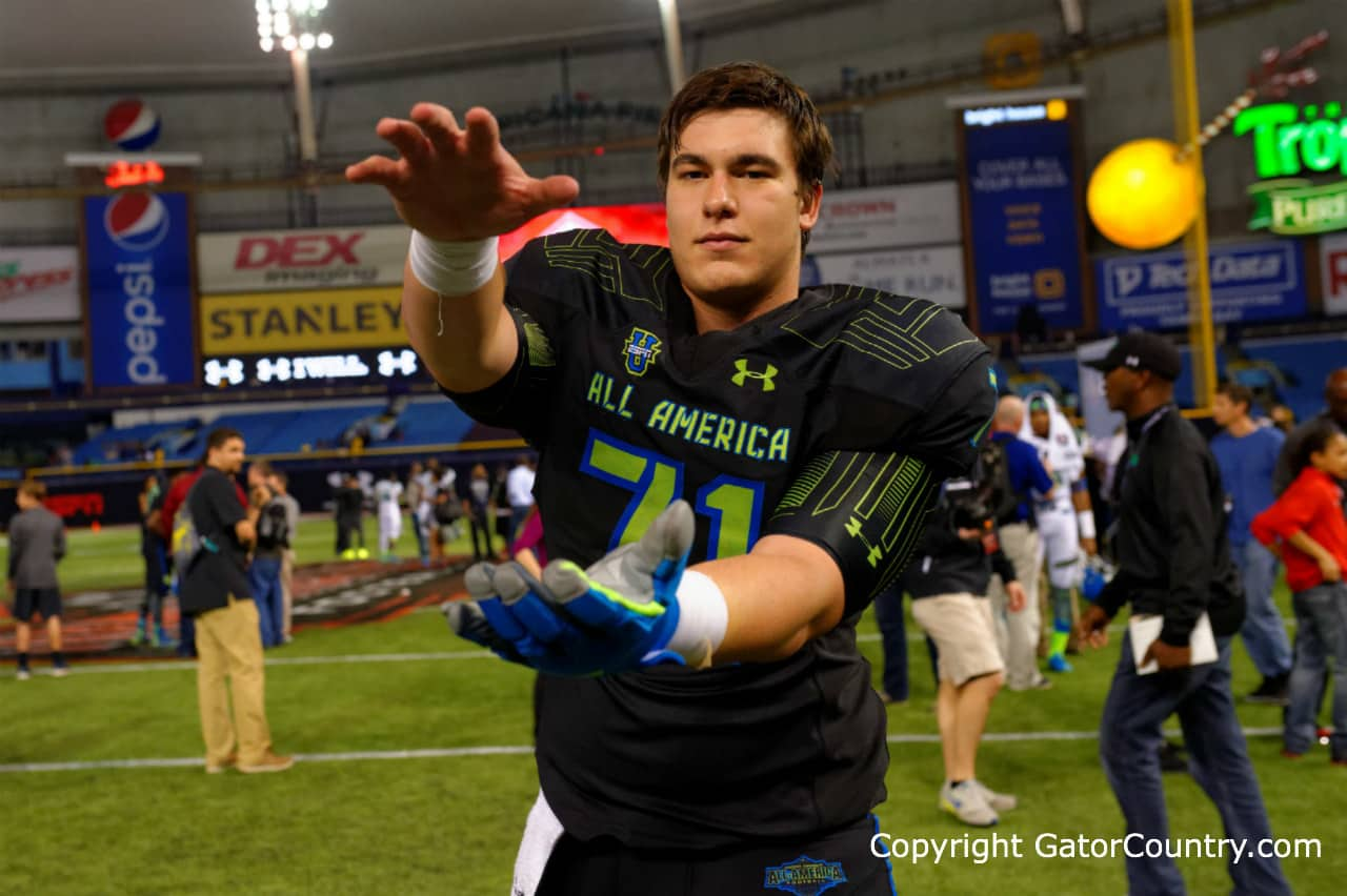 Tyler Jordan poses for the camera after the Under Armour All-America High School Football Game/Gator Country photo by David Bowie.