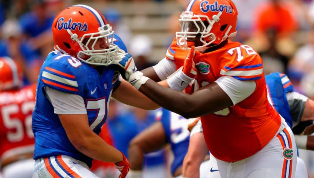 Florida Gators offensive tackle David Sharpe blocks during the spring game in 2015- 1280x852- Florida Gators Football