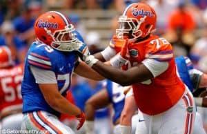 Florida Gators offensive tackle David Sharpe blocks during the spring game in 2015- 1280x852- Florida Gators Football