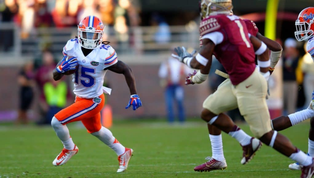 Florida Gators Receiver Brandon Powell Running The Ball Against State In 2017 1280x852