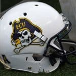 Jan 3, 2015; Birmingham, AL, USA; A detailed view of the East Carolina Pirates helmet prior to the game against the Florida Gators in the 2015 Birmingham Bowl at Legion Field. Mandatory Credit: Mike DiNovo-USA TODAY Sports