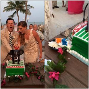 Rob and Amanda Sabin Cutting Groom's Cake