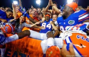 Florida Gators defensive end Bryan Cox celebrates with the fans in 2014- 1024x682- Florida Gators Football