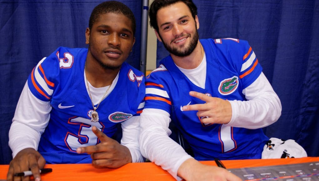Florida Gators quarterbacks Will Grier and Treon Harris pose during fan day 2015- Florida Football- 1280x854