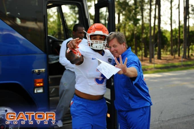 Florida Gators head coach Jim McElwain and Antonio Morrison before practice on August 8th- 1280x852- Florida Gators Football