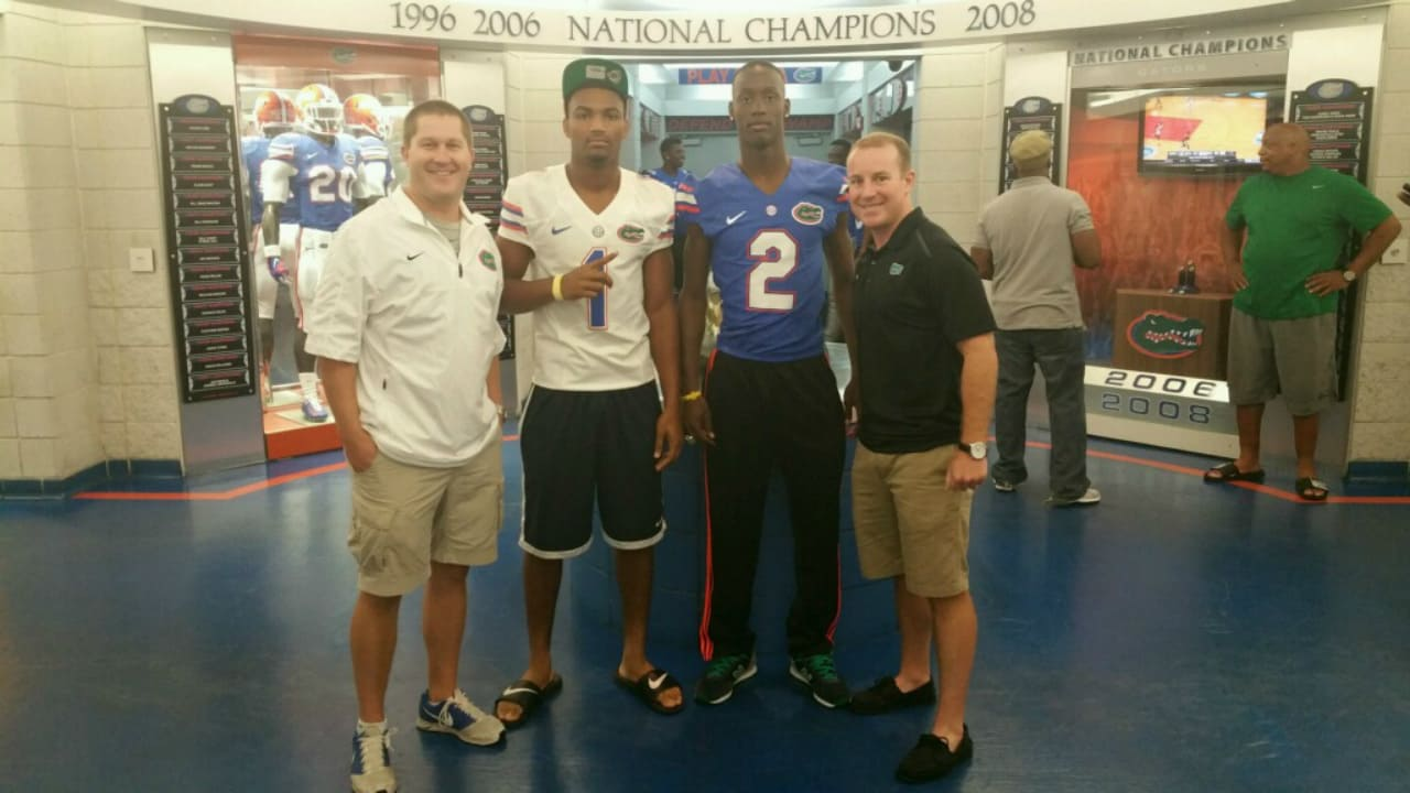 Florida Gators safety commit Jeawon Taylor with recruiting coordinator Drew Hughes and cornerbacks coach Kirk Callahan- 1280x720- Florida Gators Recruiting