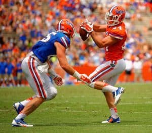 Running Back Case Harrison Tiptoes Around Defender During Orange and Blue Debut Florida Gators Football 1171x1024