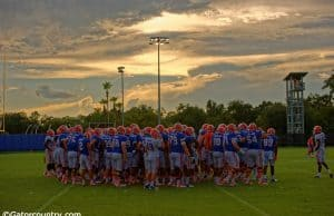 The Florida Gators huddle up before practice on August 27 - Florida Gators football - 1280x852