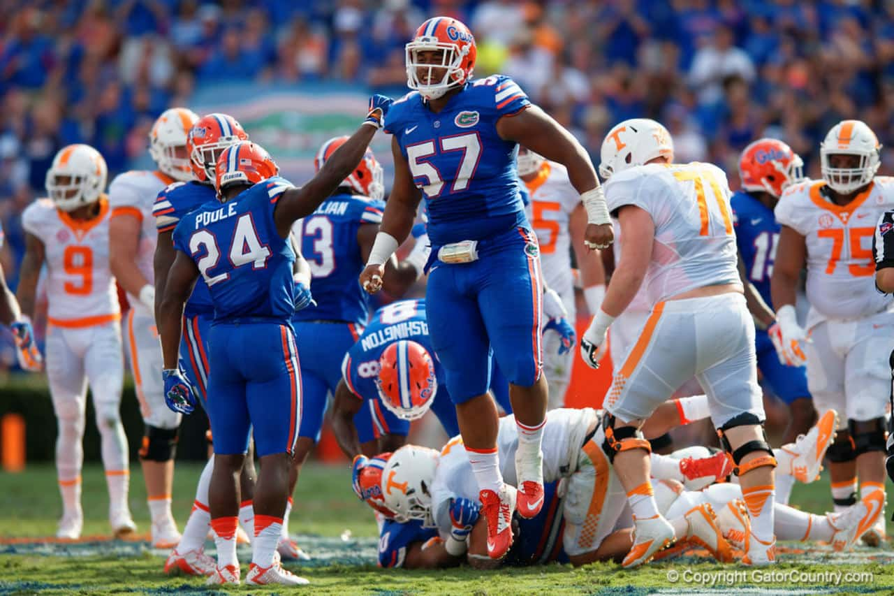 Caleb Brantley celebrates a tackle for a loss for the Florida Gators over Tennessee-1280x853
