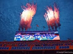 Fireworks go off in the Swamp during the Florida Gators win over New Mexico State- 1280x855- Florida Gators recruiting