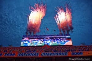 Fireworks go off in the Swamp during the Florida Gators win over New Mexico State- 1280x855