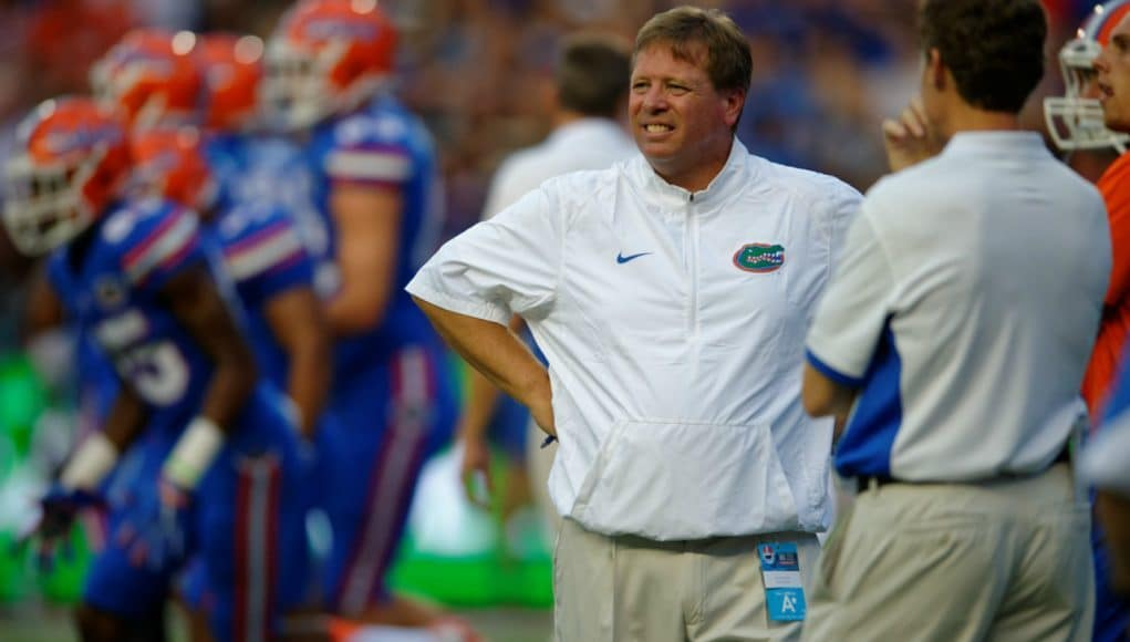 Florida Gators head coach Jim McElwain watches the Gators take on New Mexico State- 1280x853