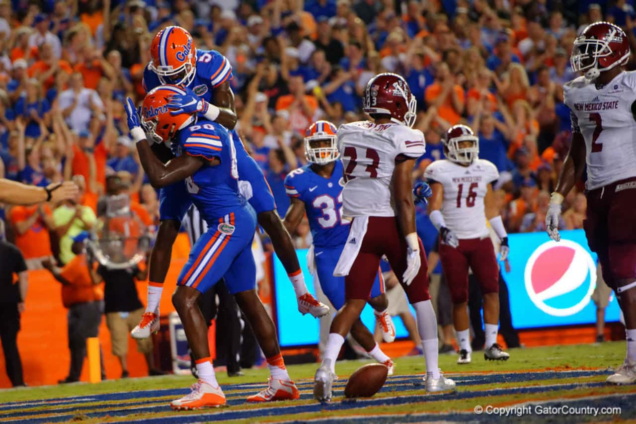 Florida Gators tight end C'yontai Lewis and receiver Ahmad Fulwood celebrate a touchdown against New Mexico State- 1280x853