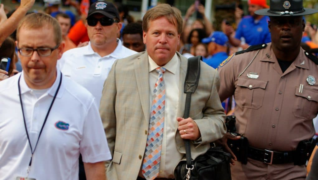 Florida Gators head coach Jim McElwain during the Gator walk against New Mexico State- 1280x851