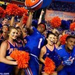 Juniors Vernon Hargreaves III and Demarcus Robinson celebrate with cheerleaders following the Florida Gators 28-27 win over the Tennessee Volunteers- Florida Gators football- 1280x854