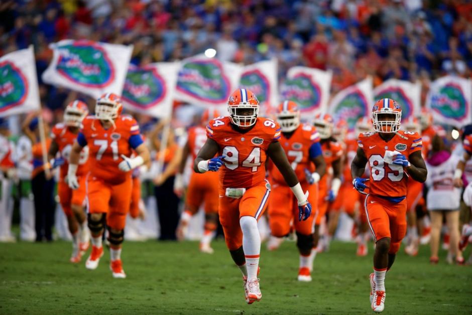 The Florida Gators football team takes the field against ECU in 2015- 1280x855