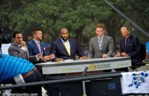 Tim Tebow and the SEC Nation crew get ready for their live broadcast before the Florida Gators host the Tennessee Volunteers- Florida Gators Football- 1280x854