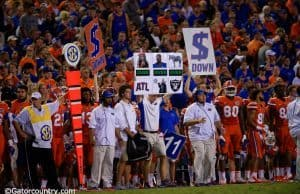 University of Florida defensive coordinator Geoff Collins signals in plays during the Florida Gators win over ECU- Florida Gators football- 1280x854