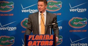 University of Florida head basketball coach Mike White addresses the media during Florida Gators basketball media day- Florida Gators basketball- 1280x852