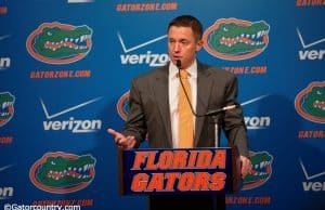 University of Florida head basketball coach Mike White fields questions during media day- Florida Gators basketball- 1280x852