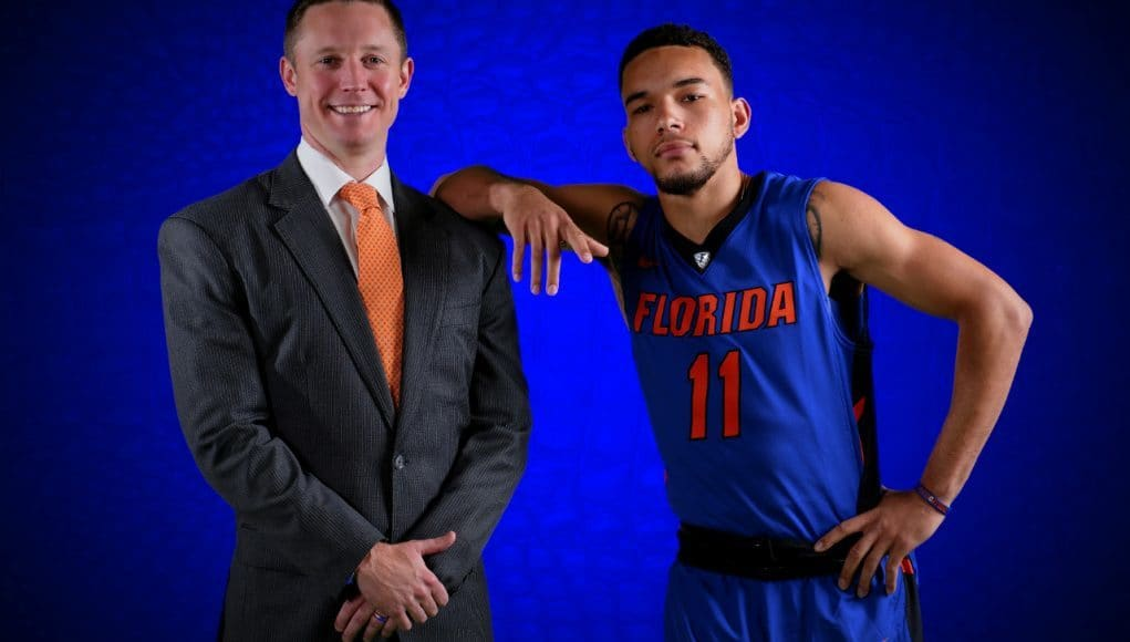 University of Florida head coach Mike White and sophomore point guard Chris Chiozza pose during basketball media day- Florida Gators basketball- 1280x852
