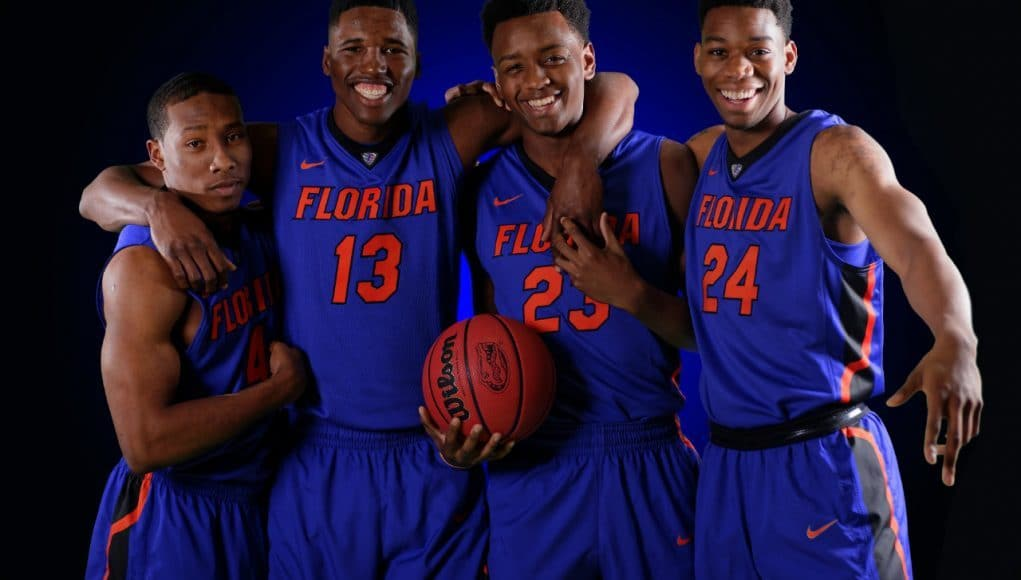 University of Florida newcomers Kevaughn Allen, Kevarrius Hayes, Keith Stone and Justin Leon pose during media day- Florida Gators basketball- 1280x852