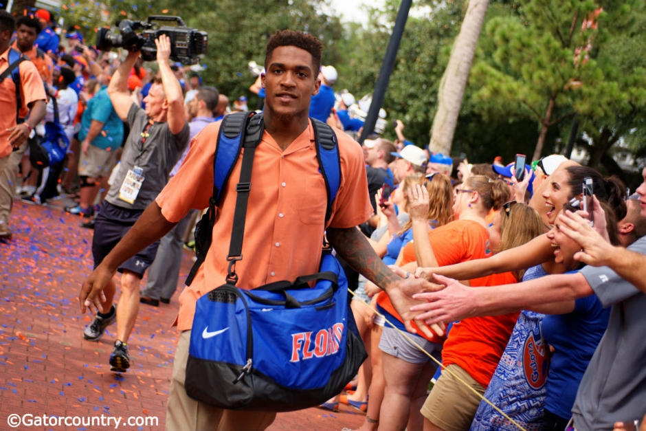 University of Florida receiver Demarcus Robinson walks into Ben Hill Griffin Stadium before the Florida Gators take on New Mexico State- Florida Gators football- 1280x854
