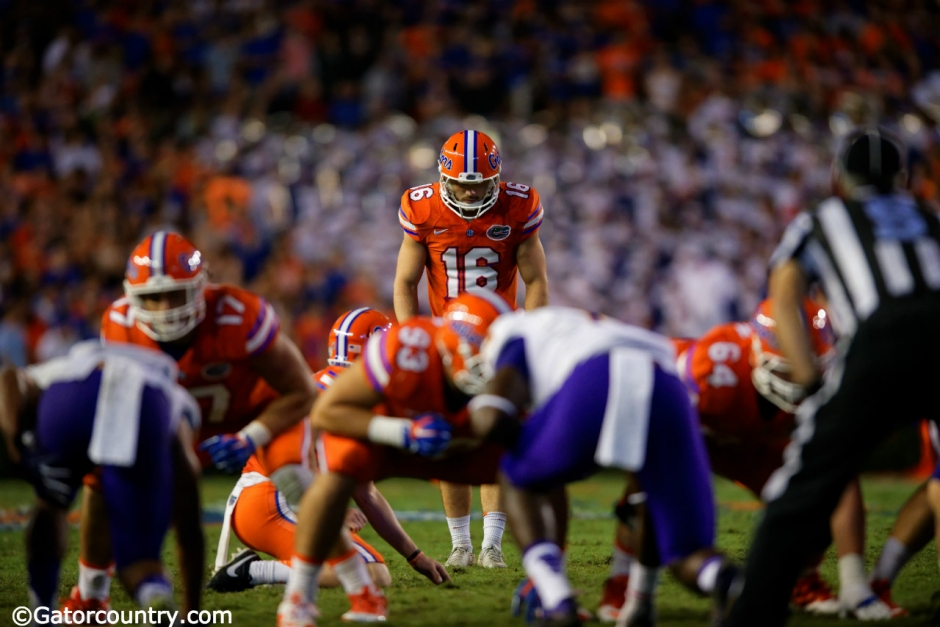 University of Florida redshirt junior kicker Austin Hardin lines up before missing his second field goal against ECU- Florida Gators Football- 1280x852