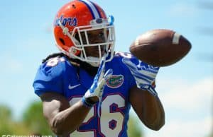 University of Florida safety Marcell Harris catches a pass during defensive back drills in spring camp- Florida Gators Football- Marcell Harris- 1280x852