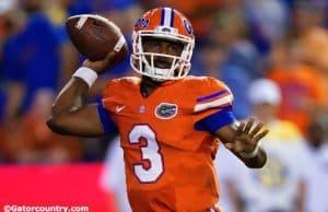 University of Florida sophomore quarterback Treon Harris throws a pass against East Carolina- Florida Gators football- 1280x854