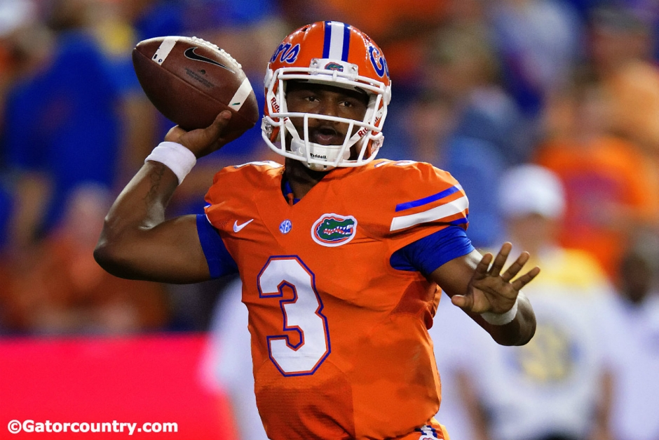 University of Florida sophomore quarterback Treon Harris throws a pass against East Carolina- Florida Gators football- 1280x854