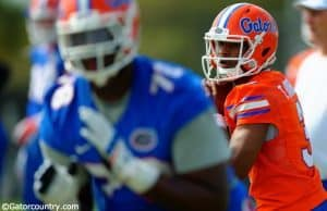 University of Florida sophomore quarterback Treon Harris throws a pass during spring camp- Florida Gators football- Treon Harris- 1280x852