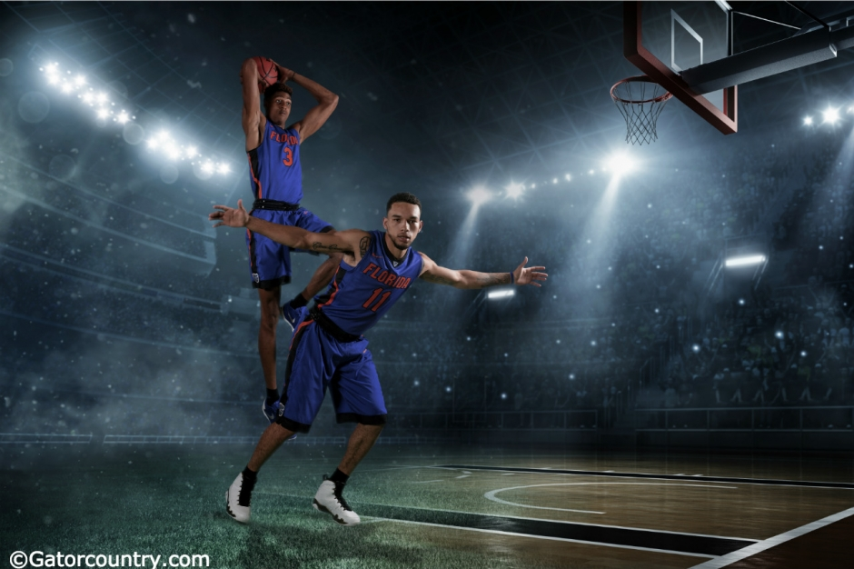 University of Florida sophomores Devin Robinson and Chris Chiozza pose during media day- Florida Gators basketball- 1280x853