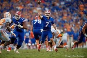 Florida Gators Quarterback Will Grier Throws On the Run Versus Tennessee Volunteers