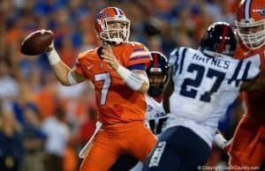 Florida Gators QB Will Grier throws a pass against Ole Miss- 1280x853