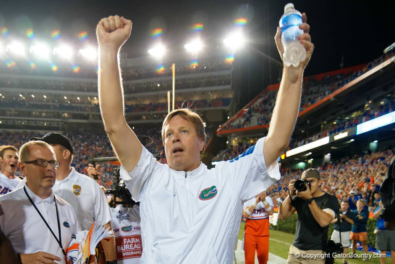 lorida Gators head coach Jim McElwain celebrates the Gators win over Ole Miss- 1280x855