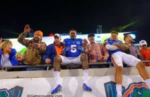 Jacksonville native Ahmad Fulwood celebrates with Jalen Tabor after the Florida Gators win over Georgia in 2014- Florida Gators football- 1280x852
