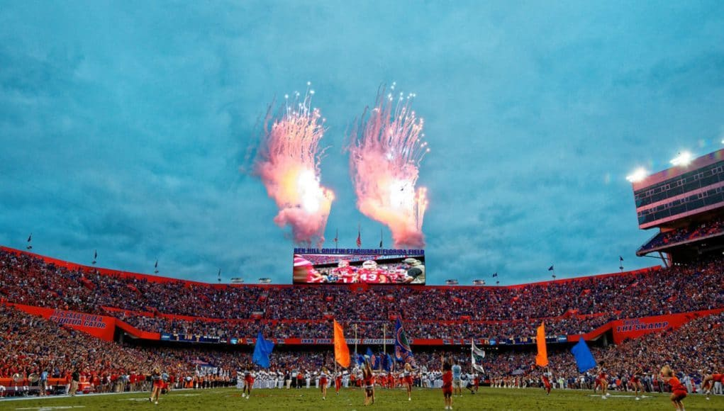he Florida Gators football team runs out against Ole Miss- 1280x855